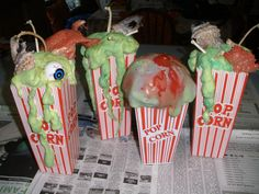 Halloween CarnEvil parts is parts 'treats' done today. Thrift store plastic popcorn holders, great stuff, paint, eyes, bones & bits of things...
