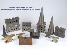 Anvil Museum Collection - Miniature anvils, swages, and cones with machined swages and cones by Bob Walkner