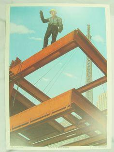 Vintage Art Print Poster Andy Aldridge Artists Depiction Indian Construction #Vintage