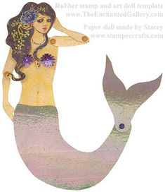 mermaid paper doll rubber stamp art swap at rubberstampchat