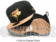 ebda0dfcc43 Toronto Blue Jays Black Metallic Copper Metallic Gold Copper Nike  Foamposite One New Era Hat New
