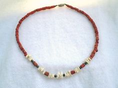 Vintage Coral and Shell Necklace by jclairep on Etsy, $10.00