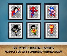 Superhero Wall Art superhero bedroom prints, wall art prints, high quality prints