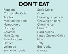 I think hamburgers and hot dogs eaten carefully are fine. If you cut corn off t… I think hamburgers and hot dogs eaten carefully are fine. If you cut corn off the cob and slice apples into chunks you can take those tasty food off the list. Dental Braces, Teeth Braces, Braces For Kids, Braces Problems, Dental Care For Kids, Braces Tips, Braces Food To Avoid, Cute Braces Colors, Invisible Braces