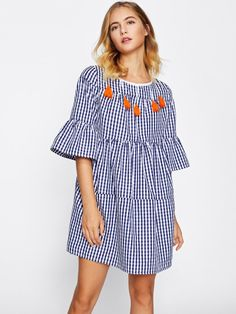3572afc2da0 Shop Tassel Tied Open Back Tiered Gingham Dress online. SheIn offers Tassel  Tied Open Back