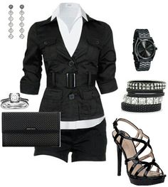 Black dressy casual short outfit