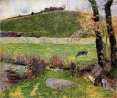 Paul Gauguin (1848 - 1903) | Post-Impressionism | Meadow at the banks of Aven - 1888