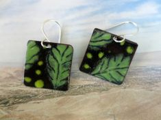 Enameled OOAK Square Earrings Black and Green Floral Design Sterling Silver Ear Wires