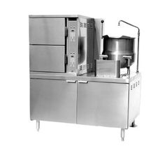 """Southbend Convection Steamer/Kettle Gas - GCX-2S-10    Southbend Steamers and Kettles - Convection Steamer/Kettle, Gas, two compartments & (1) 10-gallon kettle, 48"""" cabinet base, (6) 12""""x20""""x2-1/2"""" pan per compartment capacity, 60 min. timer per compartment, automatic blowdown, s/s interior & exterior, CSD-1 code, 200,000 BTU"""