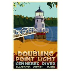 "Doubling Point Light Art Print 24"" x 36"" Travel Poster - Maine"