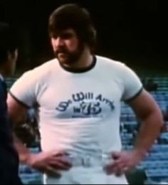 "Offensive lineman DAVID TAYLOR (64) wearing the T shirt which said it all: ""We Will Arrive In '75"" and indeed they did!! After a 1-4 start, the Colts won their remaining nine games and took the crown of AFC East champions, reaching their first playoff game since 1971!!"