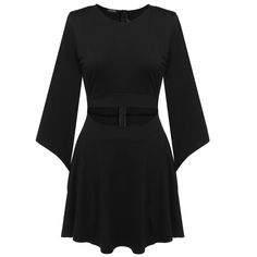 O-Neck Flare Sleeve Hollow Waistband Mini A-line Dress