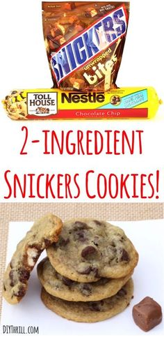 2 ingredient Snickers Cookie Recipe!  These cookies are ridiculously easy to make with a delicious Snickers surprise inside each one!  Meet your new favorite chocolate chip cookie!