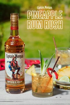 Spring weather and our Pineapple Rum Rush are nearly as inseparable as your brother Alex and grill duties. HOW TO MAKE 1. Combine 3 oz pineapple coconut juice, 1.5 oz Captain Morgan Original Spiced Rum, and 0.5 oz lime juice to a glass. 2. Top with ginger ale. 3. Garnish with pineapple wedges, a slice of lime, and a pineapple leaf.