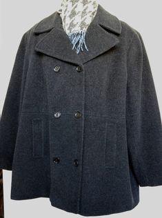 3dfaa8a7729 3X CALVIN KLEIN Gray Peacoat Jacket Wool blend Pea Coat 48 50 52 EUC Free  Scarf Womens Plus Size