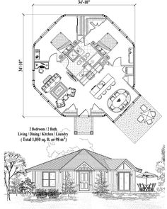 Online House Plan: 1050 sq. ft., 2 Bedrooms, 2 Baths, Patio Collection (PT-1123) by Topsider Homes.