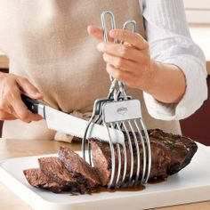Roast Cutting Tongs . $29.95. These tongs confidently transfer a roast from oven to cutting board and secure it for easy carving. Cut in between adjustable guides for even slices. Keeps fingers away from sharp blade, too. Dishwasher safe.