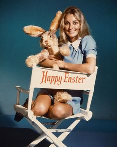 Sharon Tate Poster Or Photo With Easter Bunny In Director's Chair