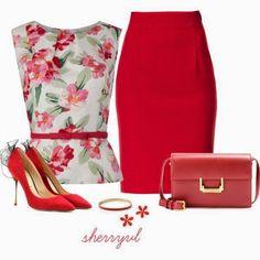 Outfits | Printed shirt, Red skirt, heels, bag