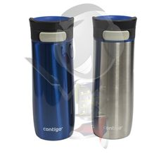 Contigo Vacuum-Insulated AUTOSEAL Travel Mugs (2 Pack, Blue & Silver)