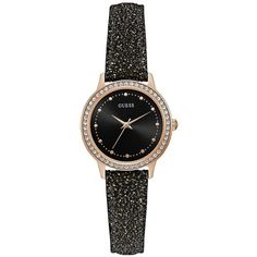 Guess Guess Chelsea Black Glitter Dial And Strap Ladies Watch ($130) ❤ liked on Polyvore featuring jewelry, watches, glitter jewelry, black face watches, leather-strap watches, polish jewelry and leather jewelry