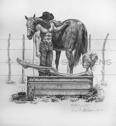 A Bets A Bet pencil drawing of a cowboy and cowgirl by Virgil C. Stephens