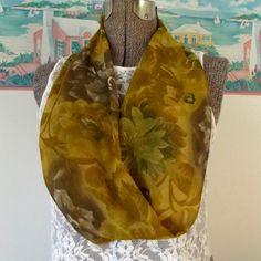 Handmade Infinity Scarf Soft Sheer Fabric Amber by GypsythatIwas