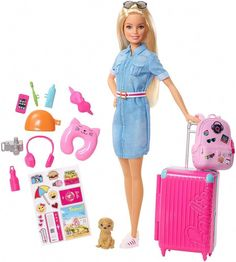 Shop for Barbie dolls and toys and find fab fashions, playsets and fashion dolls. Browse Barbie dolls and toys sparkling with pinktastic fun in the Barbie toys collection including dollhouses, Barbie& Dreamhouse, fashions and doll accessories. Mattel Barbie, Barbie Doll Set, Barbie Doll House, Barbie Dream House, Barbies Dolls, Doll Toys, Dreamhouse Barbie, Pink Suitcase, Luggage Suitcase