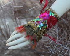 Vintage bouquet shabby chic bohemian wrist wrap by FleursBoheme