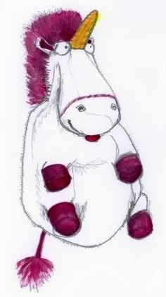 It s so fluffy  - Agnes  Unicorn from Despicable Me drawn by Cath Self    Despicable Me Unicorn Drawing