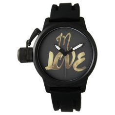 In Love Quote Gold Look Typography Romantic Script Wrist Watch - for him love gift idea diy custom special gifts present