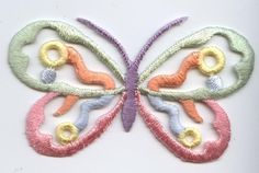 Iron On Embroidered Applique Patch Open Pastel Green and Pink Butterfly #Unbranded