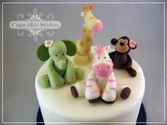 Set of 4  Edible Fondant Jungle Jill Cake and by CupcakeStylist, $60.00