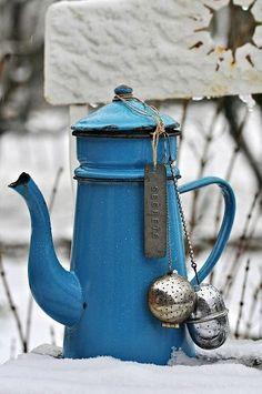 Blue coffee pot