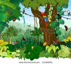 Vector Illustration Jungle with Frog, Toucan, quetzal, humming-birds, butterflies , Ara and flowers by  Kozoriz Yuriy , via Shutterstock