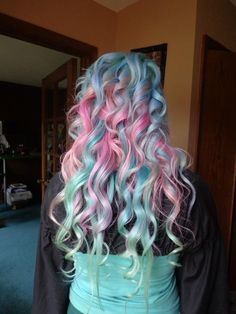 Pink, diluted Green and Blue. unicorn