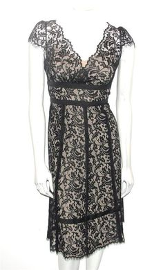 ANN TAYLOR~BLACK~TAUPE NUDE LINING~FLORAL ROMANTIC LACE~COCKTAIL DRESS~6P #AnnTaylorLOFT #VNeckFloralRomanticLaceTAUPECOCKTAILDress #Cocktail