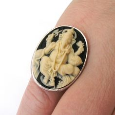 Ganesha Ring in Antique Silver Plain Edge Setting by TemporalFlux on Etsy