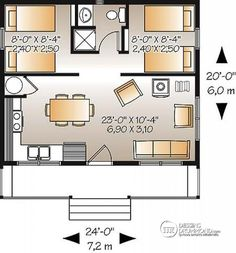 level: Activity area including kitchenette, table area and a few chairs and also a space for a wood stove. Rest area including shower and two bedrooms with simple beds and bunk beds. Cabin House Plans, Cabin Floor Plans, Small House Plans, Tiny Cottage Floor Plans, Design For Small House, Tiny Cabin Plans, Micro House Plans, The Plan, How To Plan