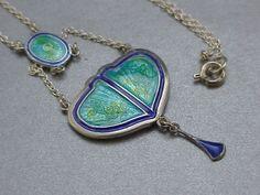 exquisite art nouveau silver enamel pendant by charles horner 1912