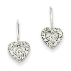 14k White Gold Diamond Heart Earrings XE642AA