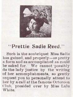 Blue Book Gallery | Storyville: New Orleans, Sadie Reed. Of the infamous  brothel owned by Lulu White