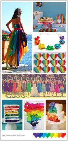 I love the idea of a rainbow colored wedding dress! ♥♥♥ by savannah Rainbow Wedding, Rainbow Theme, Love Rainbow, Taste The Rainbow, Rainbow Colors, Rainbow Palette, Wedding Themes, Our Wedding, Dream Wedding
