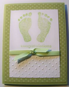 """Baby card using """"Baby Prints"""" by Stampin Up"""