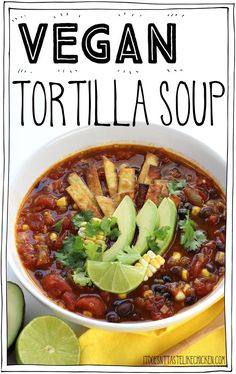 Vegan Tortilla Soup! The perfect hearty soup for a chilly night, but surprisingly easy to make. Tomatoes, hearty black beans, pops of sweet corn, seasoned to perfection with Mexican spices. Top that with crispy tortilla strips, creamy avocado, fresh cilantro, and a squeeze of zesty lime. Hello flavour! #itdoesnttastelikechicken via @bonappetegan