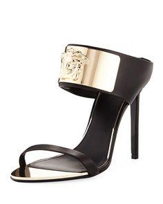 566f72da532 Medusa-Head Banded Leather Slide Sandal Versace Heels