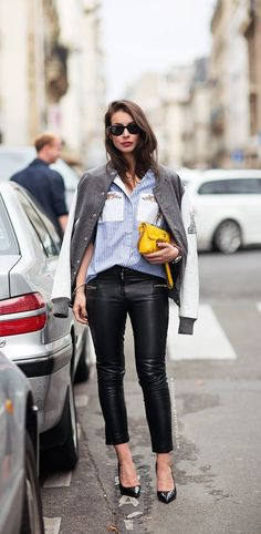 #fashion #style #streetstyle, leather pants, blue and white shirt, grey cardi