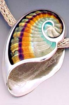 Shell pendant of Sterling Silver and Transparent Vitreous Enamels by artist Kristin Anderson