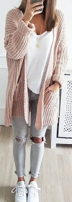 cute and casual winter outfit ideas for school - styling - # . - cute and casual winter outfit ideas for school – styling – # casual - Casual Winter Outfits, Casual School Outfits, Cute Fall Outfits, Stylish Outfits, Casual Fall, Dress Casual, Cute Cardigan Outfits, Casual Weekend, Jeans Outfits