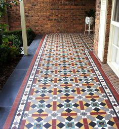 Olde English Tiles' gorgeous tessellated tiled floors can revitalise and transform a tired verandah into a spectacular, welcoming entrance to your home. Porch Flooring, Flooring Tiles, Tile Floor, Floor Design, Tile Design, Front Verandah, Victorian Tiles, Geometric Tiles, Vestibule